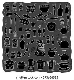 Hand draw kitchen utensils collection
