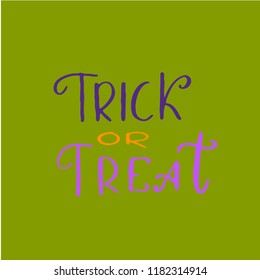 hand draw lettering  helloween phrases on a green background