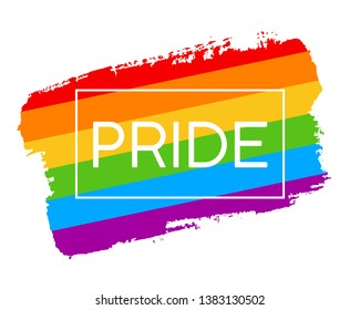 Hand draw LGBT pride flag in vector format. Rainbow flag with word PRIDE for poster. LGBTQ love symbol background. Concept design.