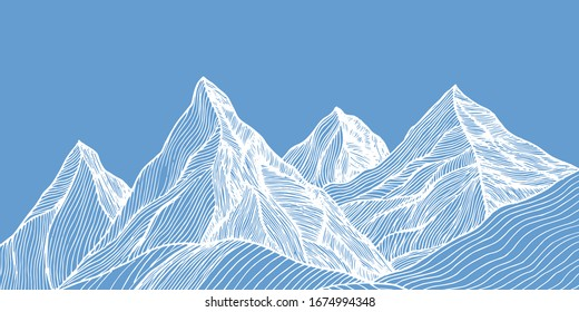 Hand Draw Line Mountains Hill Blue Sky Liner White Background Vector Illustration
