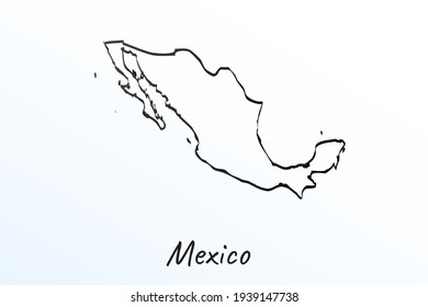 Hand draw map of Mexico. Black line drawing sketch. outline doodle on white background. handwriting script name of the country. vector illustration backdrop
