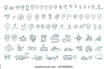 Hand draw map set elements. Transport tracking. Travel geography road icons sketch set outline line drawing. Collection set vector stock clipart illustration.