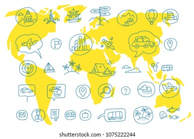 Hand draw map set elements. Transport tracking. Travel geography road icons sketch set outline line drawing. Collection set vector