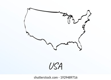 Hand draw map of United States. Black line drawing sketch. outline doodle on white background. handwriting script name of the country. vector illustration backdrop