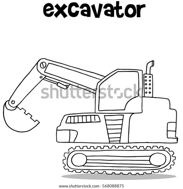 Hand Draw Mini Excavator Vector Illustration Stock Vector