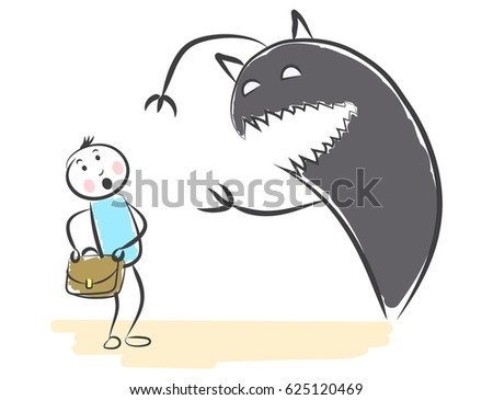 hand draw monster shadow wants take stock vector royalty free