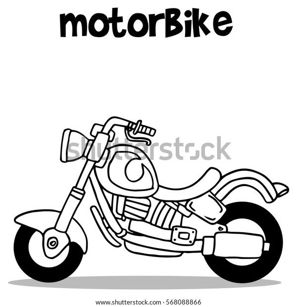 Hand draw of motorbike vector art collection stock