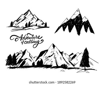 Hand draw mountains set. Engraving style. Vector illustration. Isolated on white background.