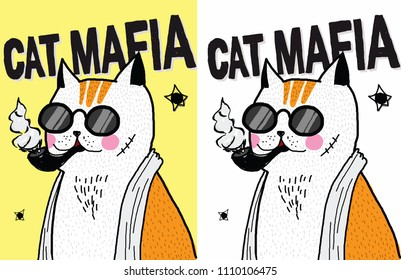 Hand draw orange cat mafia illustration