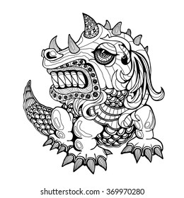 Hand draw ornamental dragon outline illustration with decorative ornaments.Zentangle stylized dragon.Tattoo ornament vector illustration isolated on white background. Sketch for tattoo art or makhenda