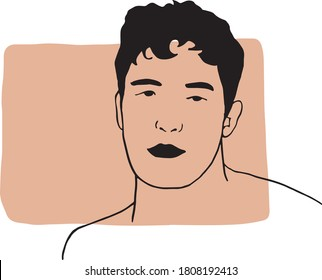 Hand draw outline portrait of an caucasian white man with pink beige sample color. Abstract colletion of different people and skin tones. Diversity concept