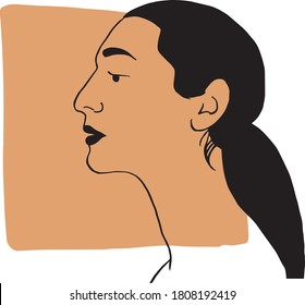 Hand draw outline portrait of latin hispanic woman with dark beige sample color. Abstract colletion of different people and skin tones. Diversity concept