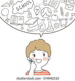Hand draw outline vector illustration a boy and bubble icon education.Doodle style.