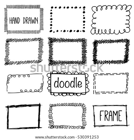 Hand Draw Pencil Frame Sketch Doodle Stock Vector Royalty Free