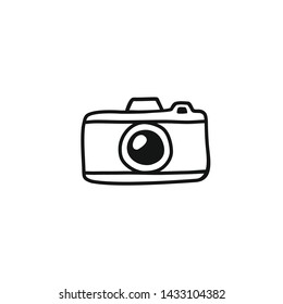Hand draw Photo Camera Line Illustration. Vector clip art in Simple Doodle Style camera Icon. Silhouette of Vintage camera Isolated on White Background.