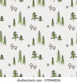Hand draw quirky vector illustration of forest with pine, seamless pattern. Tree sketch pattern for decoration and design. Cute background for kids fashion fabric and tile or wrapping.
