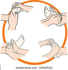 Hand draw Reflexology