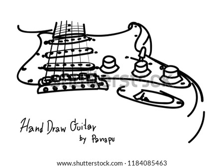 Hand Draw Retro Electric Guitar Stock Vector Royalty Free