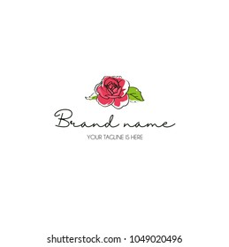 hand draw rose logo