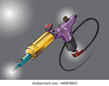 hand draw rotary tattoo machine. Colored variations. Vector illustration.