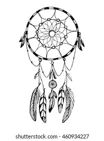 Hand draw rustic dream catcher . Boho style vector illustration on white background.