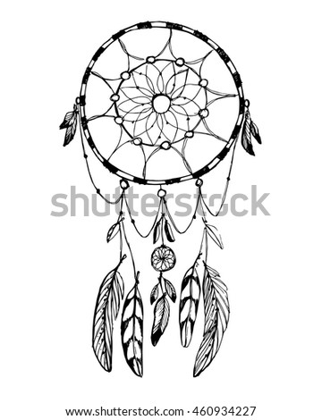 Hand Draw Rustic Dream Catcher Boho Stock Vector Royalty Free Delectable Pictures Of Dream Catchers To Draw
