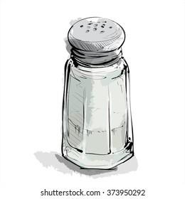 Hand draw of salt shaker. Vector illustration.