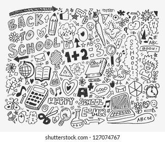 hand draw school element,cartoon vector illustration