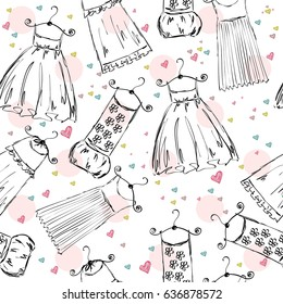 Hand draw seamless pattern with fashionable dresses