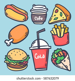 Hand draw set with various fast food. hot dog, hamburger, pizza slice, chicken,fries, coffee,  roll, cola. hand-drawn illustration.
