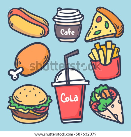 Hand Draw Set Various Fast Food Stock Vector Royalty Free