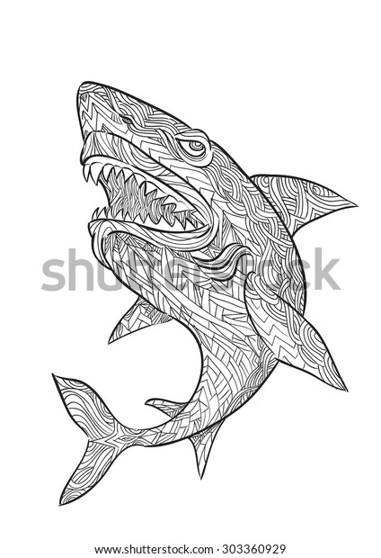 Hand Draw Shark Zentangle Style Stock Vector (Royalty Free