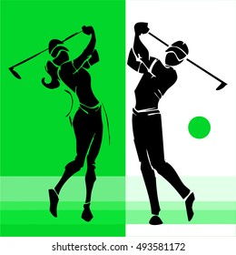 hand draw silhouette of golf player couple