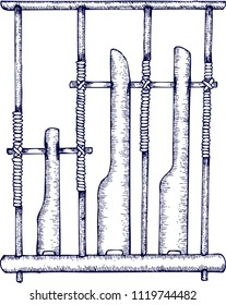hand draw sketch, Angklung, Indonesia traditional music instrument