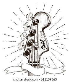 Hand draw sketch with bass guitar for rock festival poster. Vector illustration isolated. Rock label design for t-shirts, posters, logos, greeting cards etc.