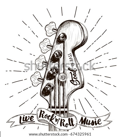 Hand Draw Sketch Bass Guitar Rock Stock Vector Royalty Free