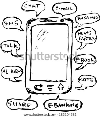 Hand Draw Sketch Function Mobile Phone Stock Vector Royalty Free