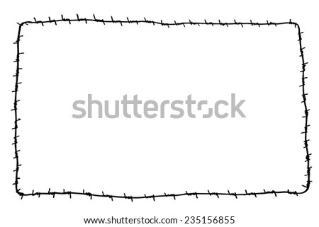 Hand Draw Sketch Rectangle Barbed Wire Stock Vector Royalty Free