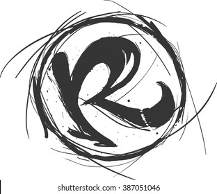 Hand draw sketch Rock logo. R icon.