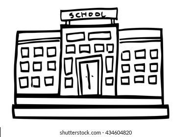 Hand Draw Sketch of School Building
