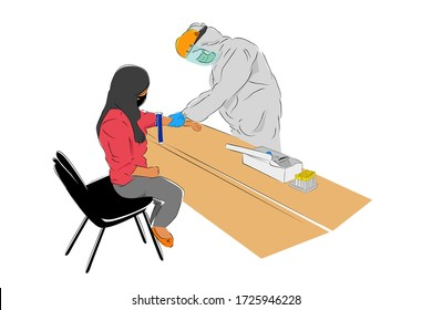 Hand Draw Sketch, Standing Doctor or Nurse Use Hazmat and Face Shield Preparing Blood Test for Covid-19, to the sitting woman