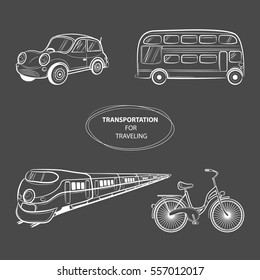 Hand draw sketch Transportation Travel icons: train, bus, car, bike. Vector illustration
