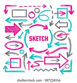 Hand draw sketch vector illustrations - creative sign set. Arrows, rectangles and ovals marker design elements. Doodles. Abstract shapes collection for business presentation.