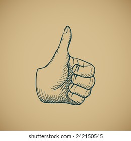 Hand draw sketch vintage thumbs up vector illustration