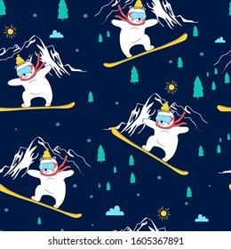 Hand draw snowboard bear vector illustration and pattern for print design.