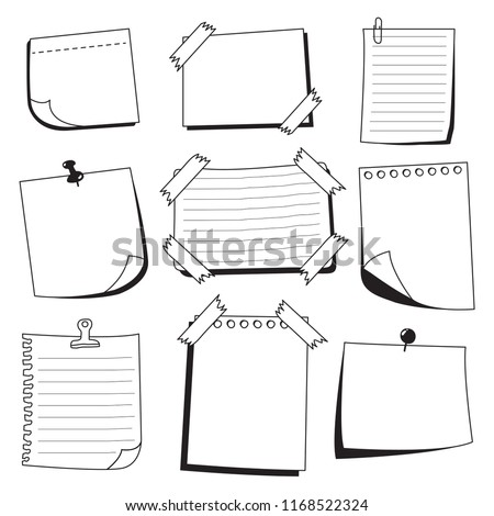 Hand Draw Sticky Notes Doodle Collection Stock Vector Royalty Free