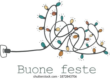 hand draw strung light and buone feste text for christmas greeting card and poster
