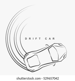 Hand draw style of drift car logo from top view.(EPS10 art vector)