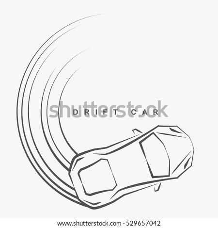 Hand Draw Style Drift Car Logo Stock Vector Royalty Free 529657042
