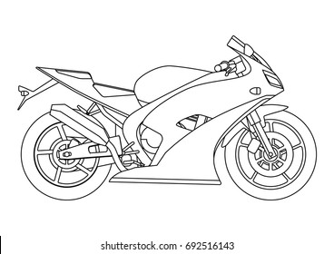 Hand draw style of a vector new motorcycle illustration for coloring book